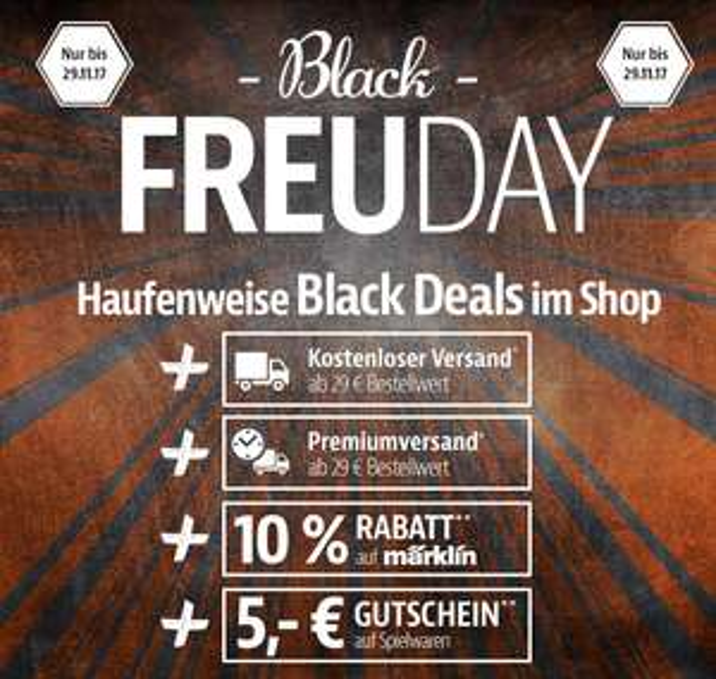 Black FREUDay bei SMDV.de | 10% Märklin | 5€ Gutschein Spielwaren | VSK frei ab 29€ | Express-Versand