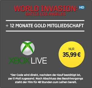 12 Monate Xbox Live Gold + »World Invasion: Battle Los Angeles« (HD-Leihfilm) für 35,99€ bei RakutenTV