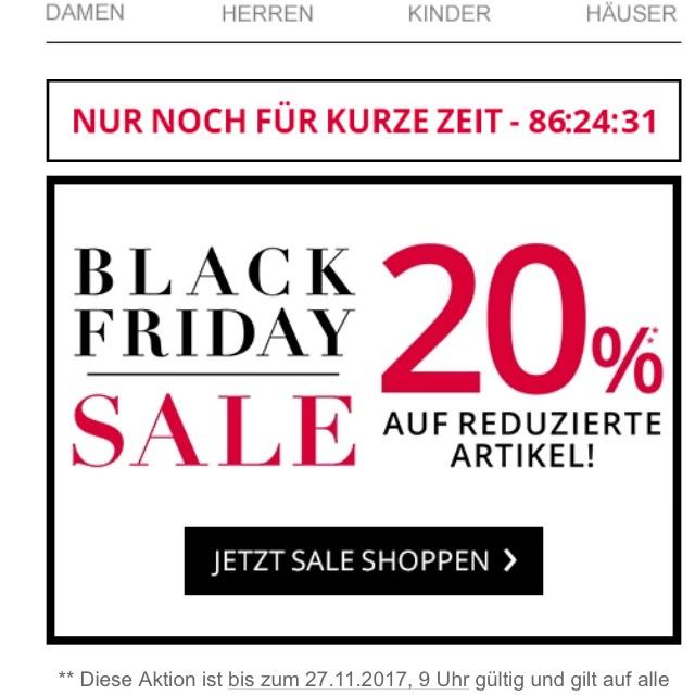 Peek & Cloppenburg P&C *Black Friday Sale* 20% auf reduzierte Ware