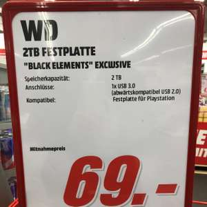 "WD Black Elements Exclusive 2 TB 2,5"" USB 3.0 HDD [Lokal Mediamarkt Nordwestzentrum FFM]"