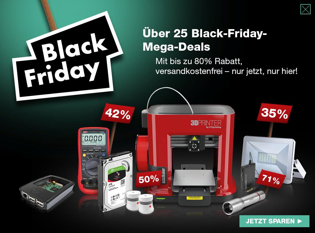 Sammeldeal Black Friday Angebote bei reichelt Elektronik mit 3D Drucker für 199,99€ und Raspberry Pi 3B Kit für 55,55€