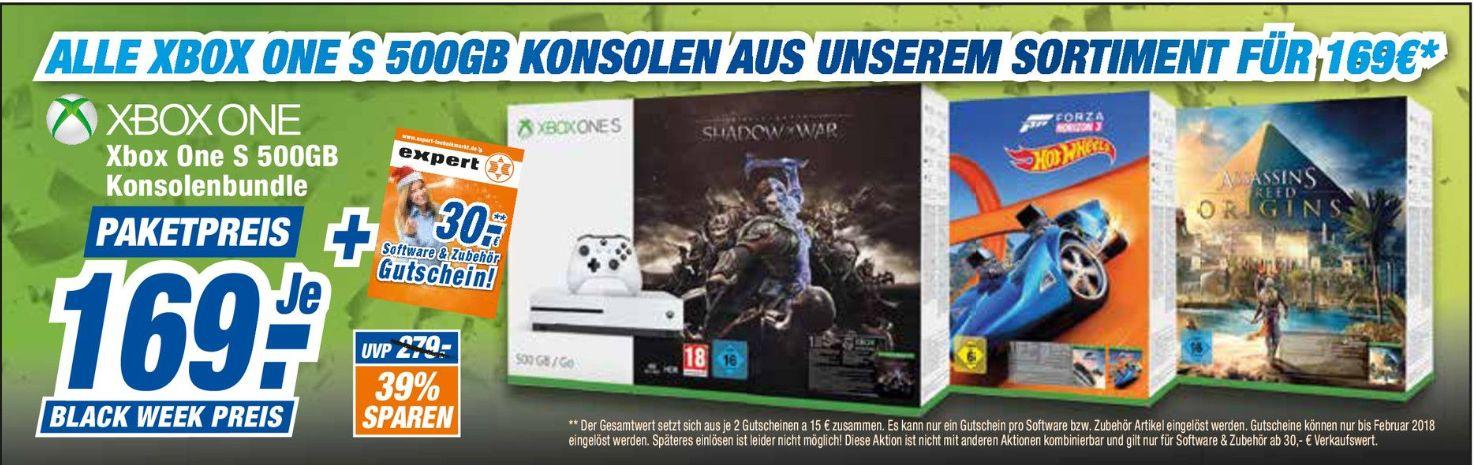 [Offline alle 20 Expert Technikmarktfilialen] Jedes Xbox One S Konsolen Bundle (500GB) inc 30,-€ Gutschein für Software oder Zubehör für 169,-€