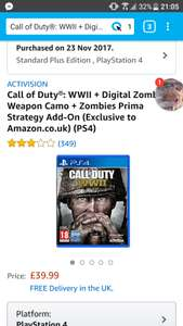 Call of Duty ww2 standard plus Edition UK version