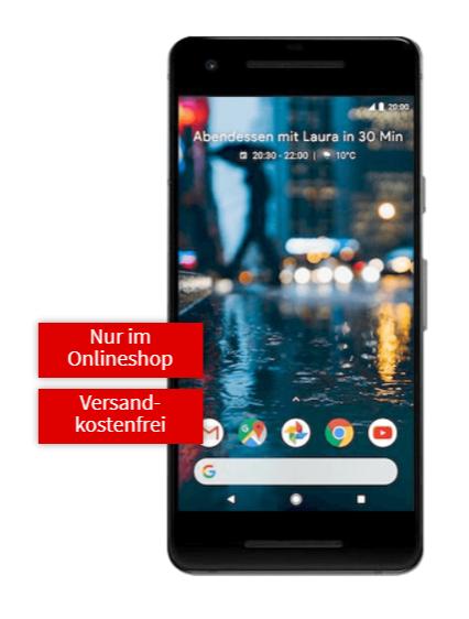 Google Pixel 2 (schwarz o. weiß) mit Mobilcom Vodafone oder Telekom [Mediamarkt]