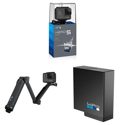 GoPro HERO5 Black Action Kameramit GoPro 3-Wege Halterung und Akku