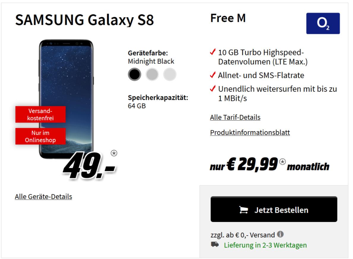 MM Online - o2-Vertrag (mit LTE) Samsung Galaxy S8