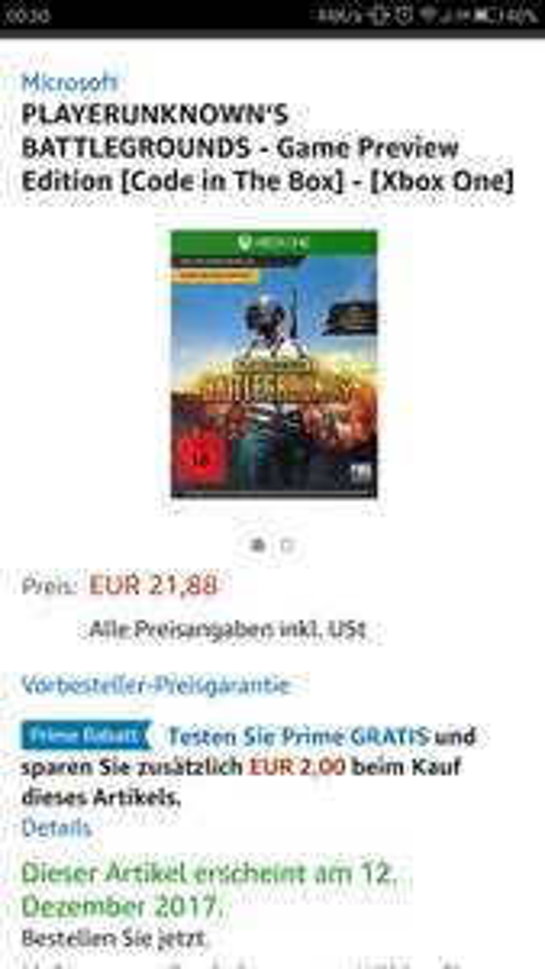 Amazon Prime - Playerunknown's Battlegrounds (Xbox One - Vorbestellung)