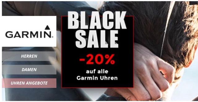 20 % Black–Sale auf alle GARMIN–Uhren bei uhrzeit.org