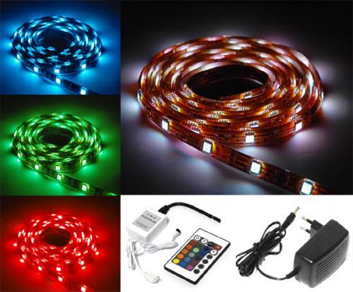 5m LED Strips mit Fernbedienung, selbstklebend, 16 Farben, 4 Programme für 29,99 €