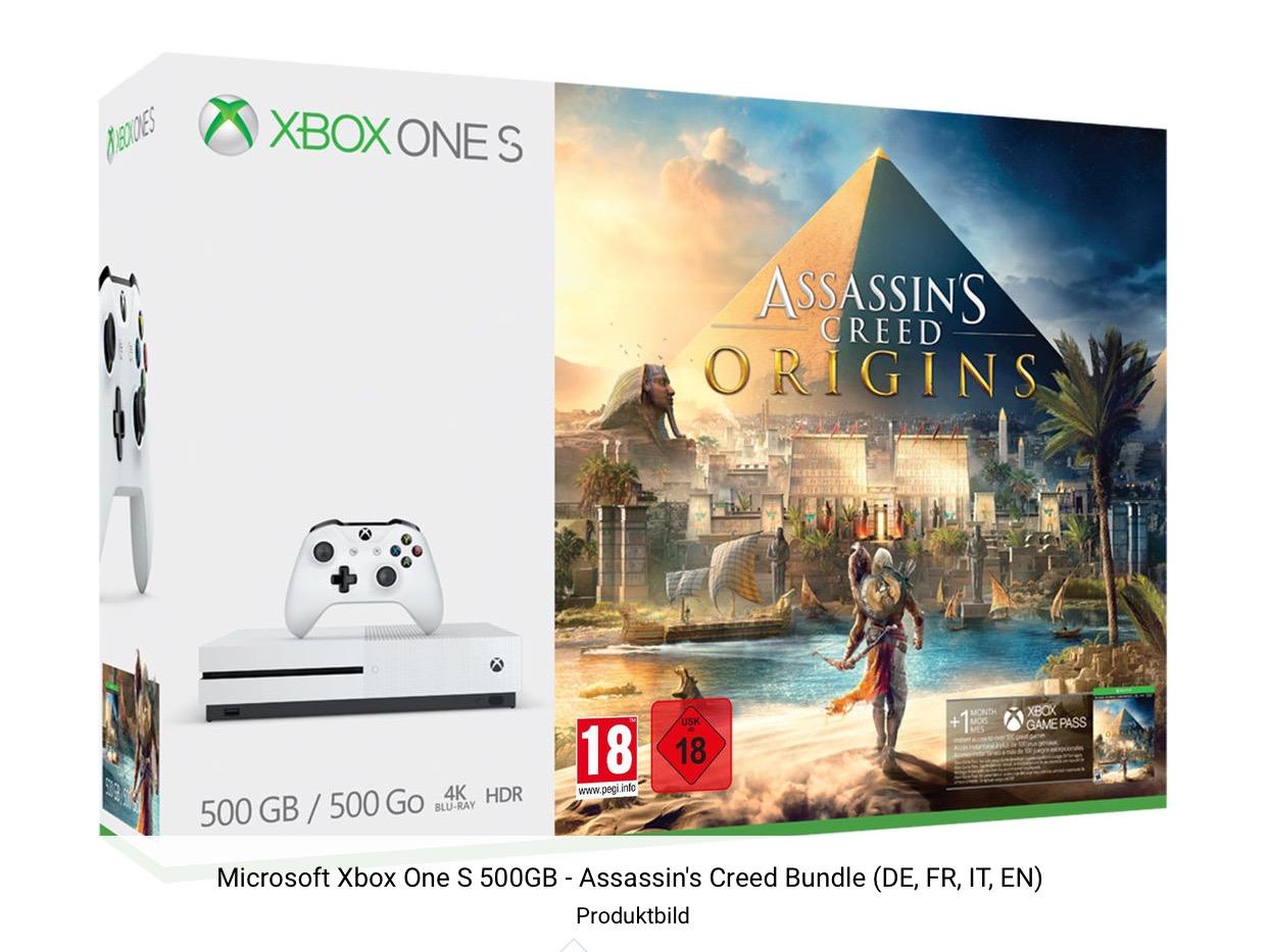 (CH) Bei Digitec bekommt Ihr die Microsoft Xbox One S 500GB - Assassin's Creed Bundle für ca. 125€