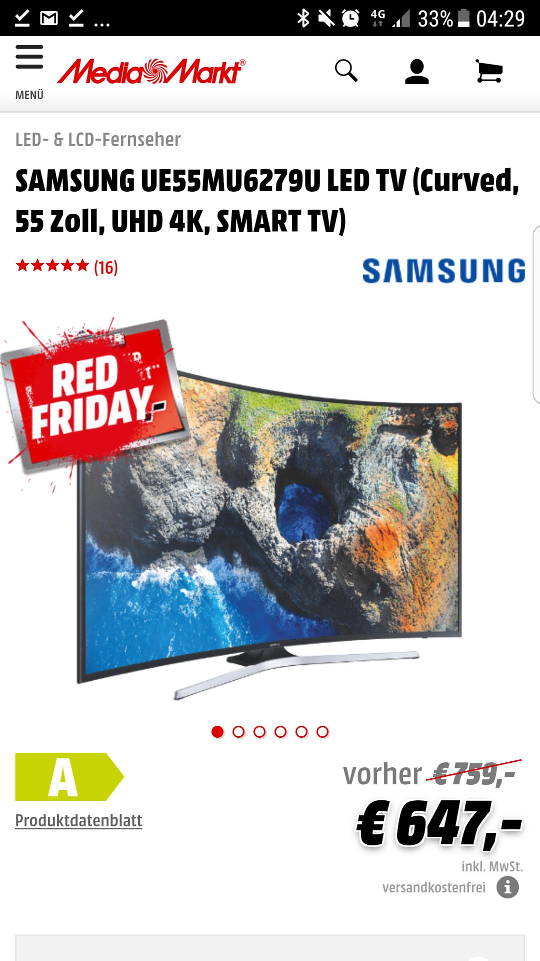 SAMSUNG UE55MU6279U LED TV (Curved, 55 Zoll, UHD 4K, SMART TV)