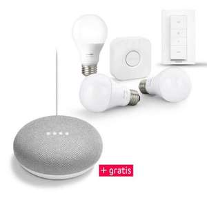 Philips Hue White Starter Kit E27 (Bridge, 3 Lampen, Dimm Switch) + gratis Google Mini