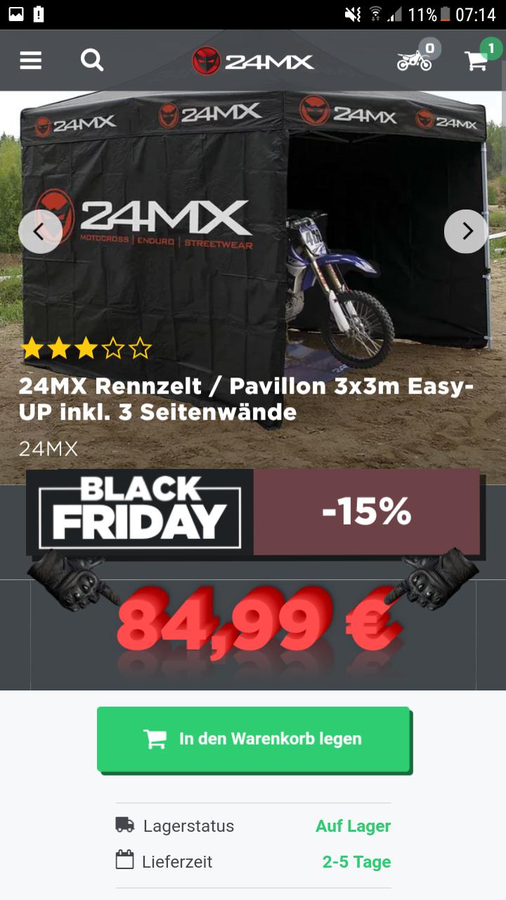 24MX Rennzelt mit drei Seitewänden 84,99 Black Friday