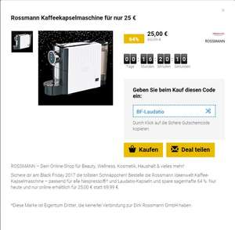 Rossmann Kaffeekapselmaschine für nur 25 €