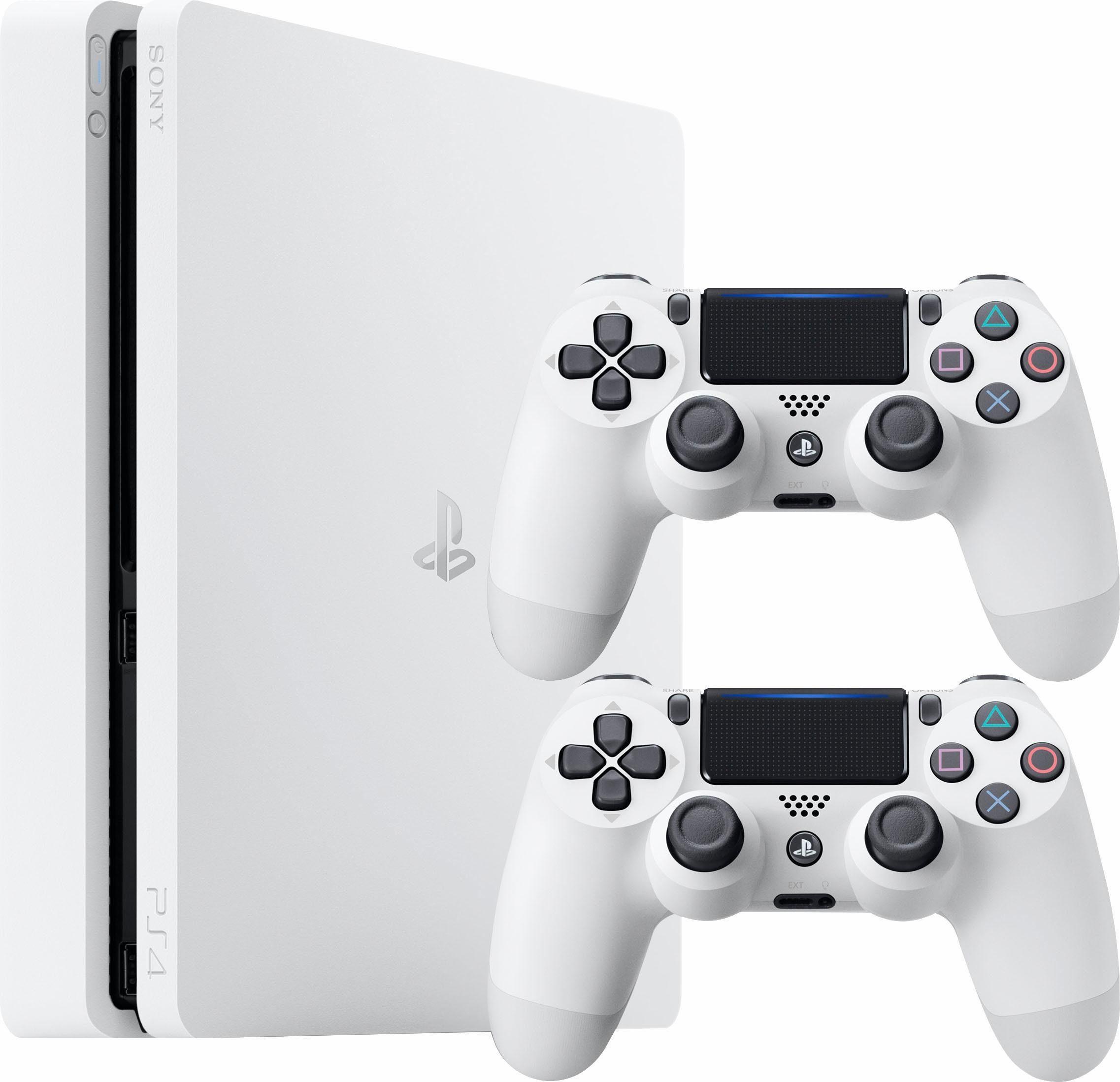 PlayStation 4 500 GB + 2 Controller in weiß für 204,75 bei Otto mit Neukundengutschein und 5%