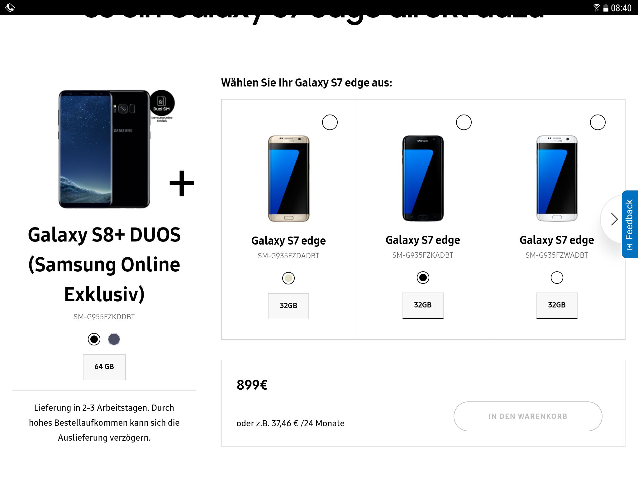 BF  Samsung S8+Duos und S7 Edge für 899,-