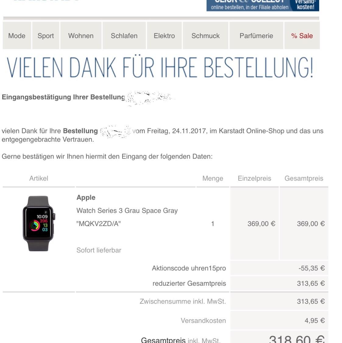 Apple Watch Series 3 38mm mit 15% + Shoop ~290€ / 42mm auch möglich