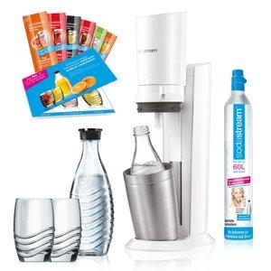 SodaStream Crystal 2.0 Promopack weiß / titan +2 Karaffen, 1 Zylinder, 2 Gläser, 6 Sirupproben