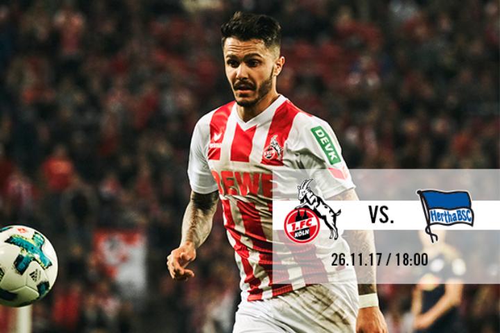 1.FC Köln - Hertha BSC Berlin. - 26.11 um 18:00 Uhr , Tickets für 19,48€