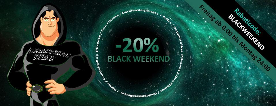 20% auf PLISSEES, ROLLOS, DOPPELROLLOS, INSEKTENSCHUTZ -- BLACKWEEKEND bis 28.11.2017 - Sonnenschutz Riese