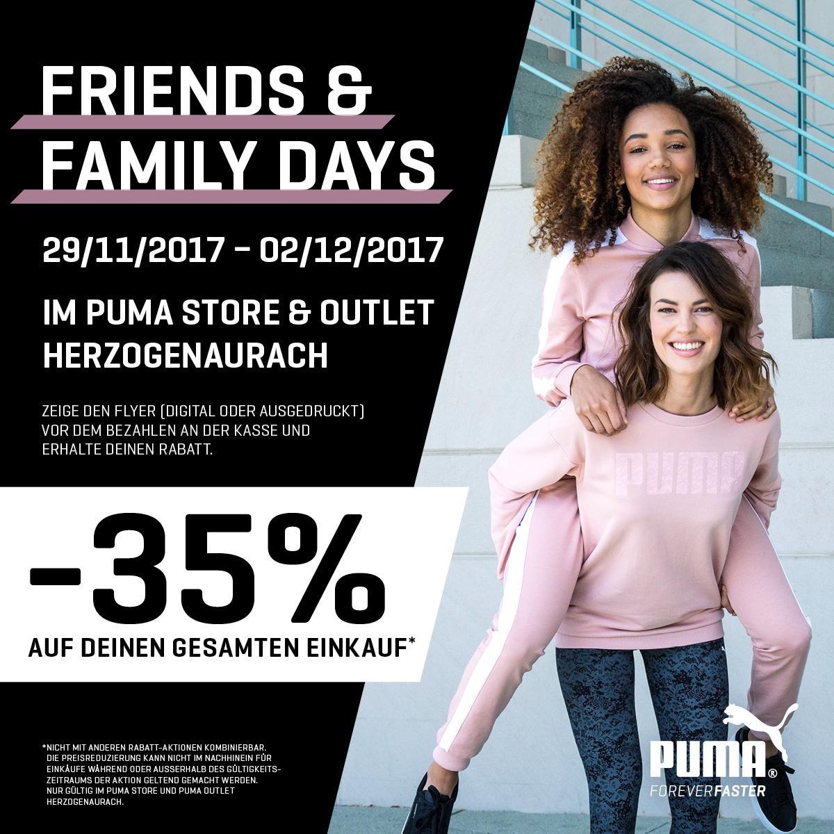 PUMA 35% - Family & Friends Tage im Store und Outlet in Herzogenaurach ab 29.11.17