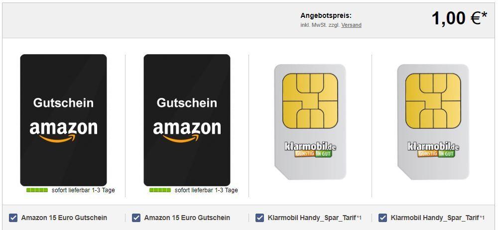 Klarmobil Handy Spar Duo mit 30€ Amazon Gutschein für 3,90€ oder andere Prämien