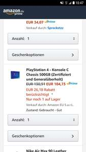 PlayStation 4 500GB WHD Amazon