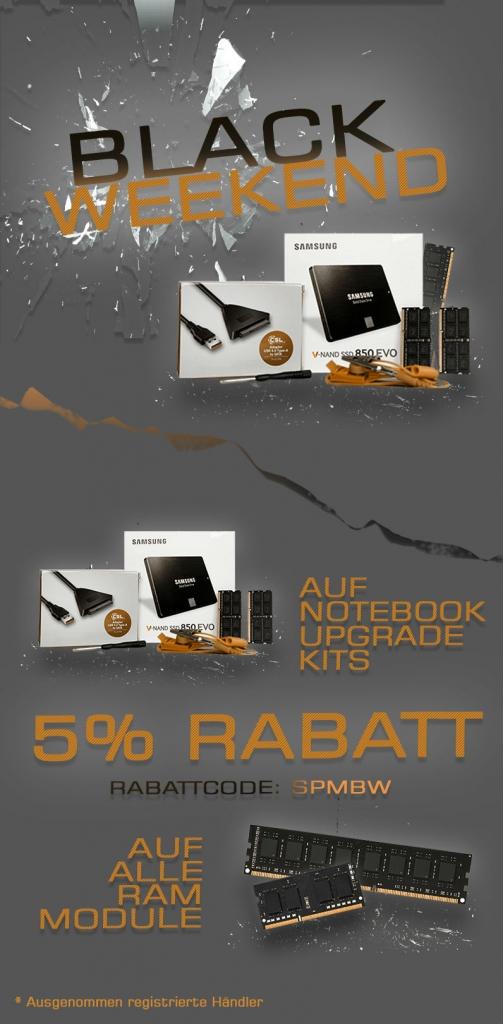 5% RABATT auf Notebook Upgrade Kits und auf alle RAM Module!