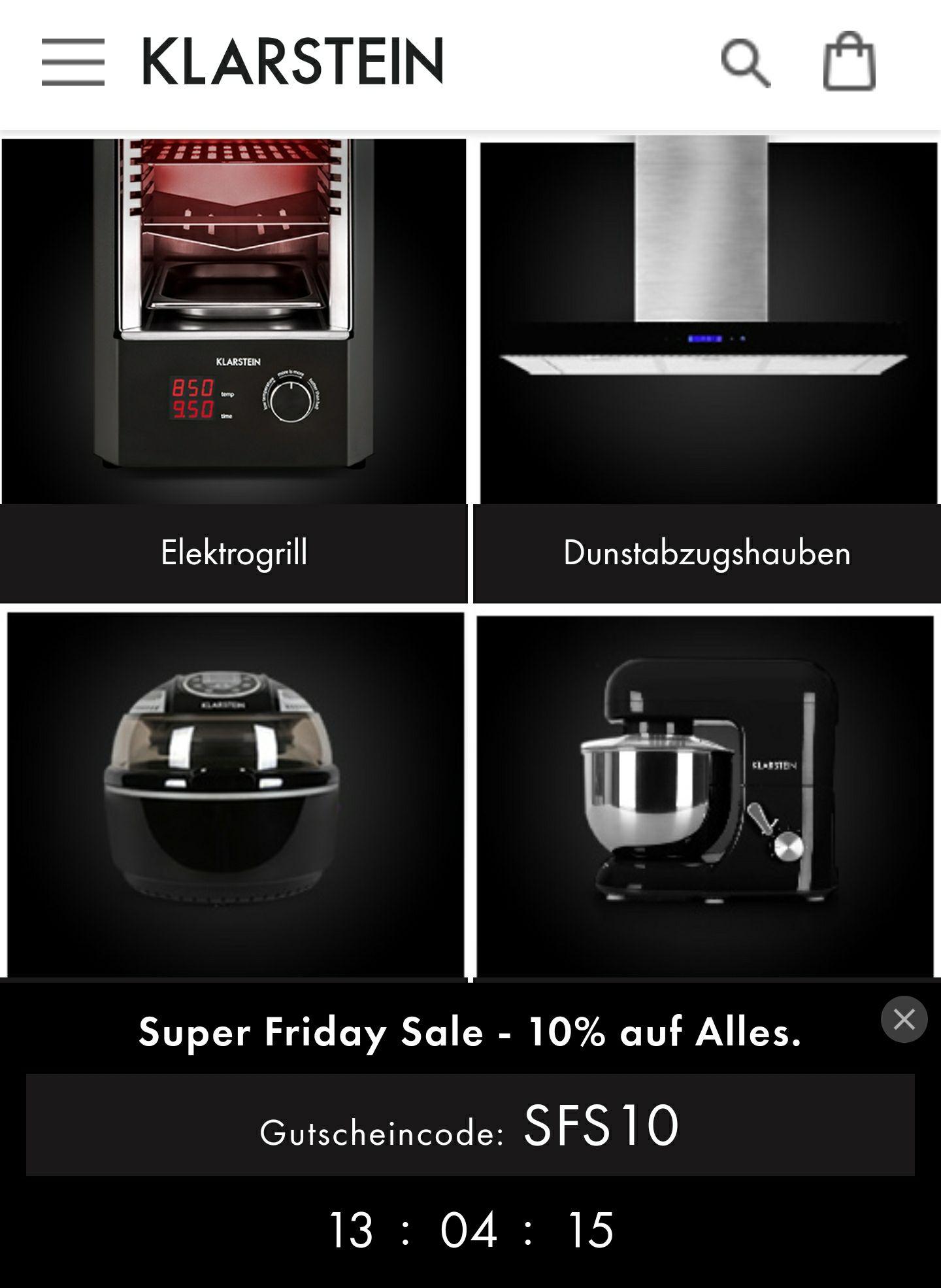 10%  Rabatt zum Black friday bei klarstein.de