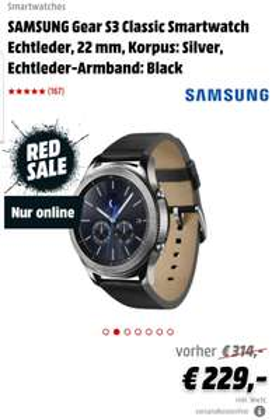 *UPDATE* [MediaMarkt.de] Samsung Gear S3 Classic und nun wieder auch die Frontier für 229 €