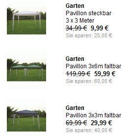Garten Pavillon, zB 3x3 Meter (steckbar) für 9,99 €. Gibt es auch in faltbar für 30€ (idealo: 50€) & größer @Schlecker. MBW: 15€