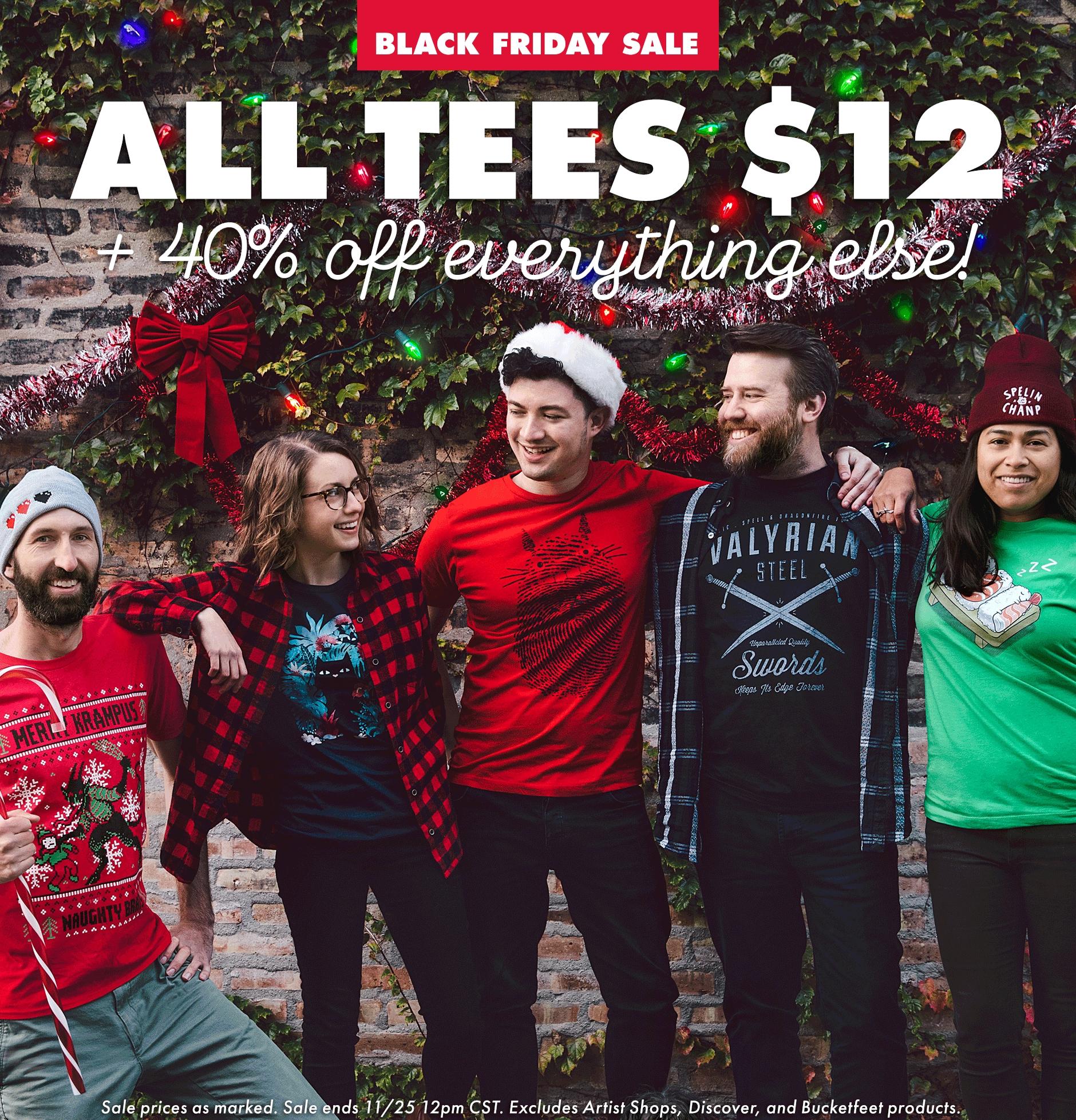 Black Friday Threadless: Jedes Shirt 12$ statt 25$, 40% Rabatt aufs restliche Sortiment