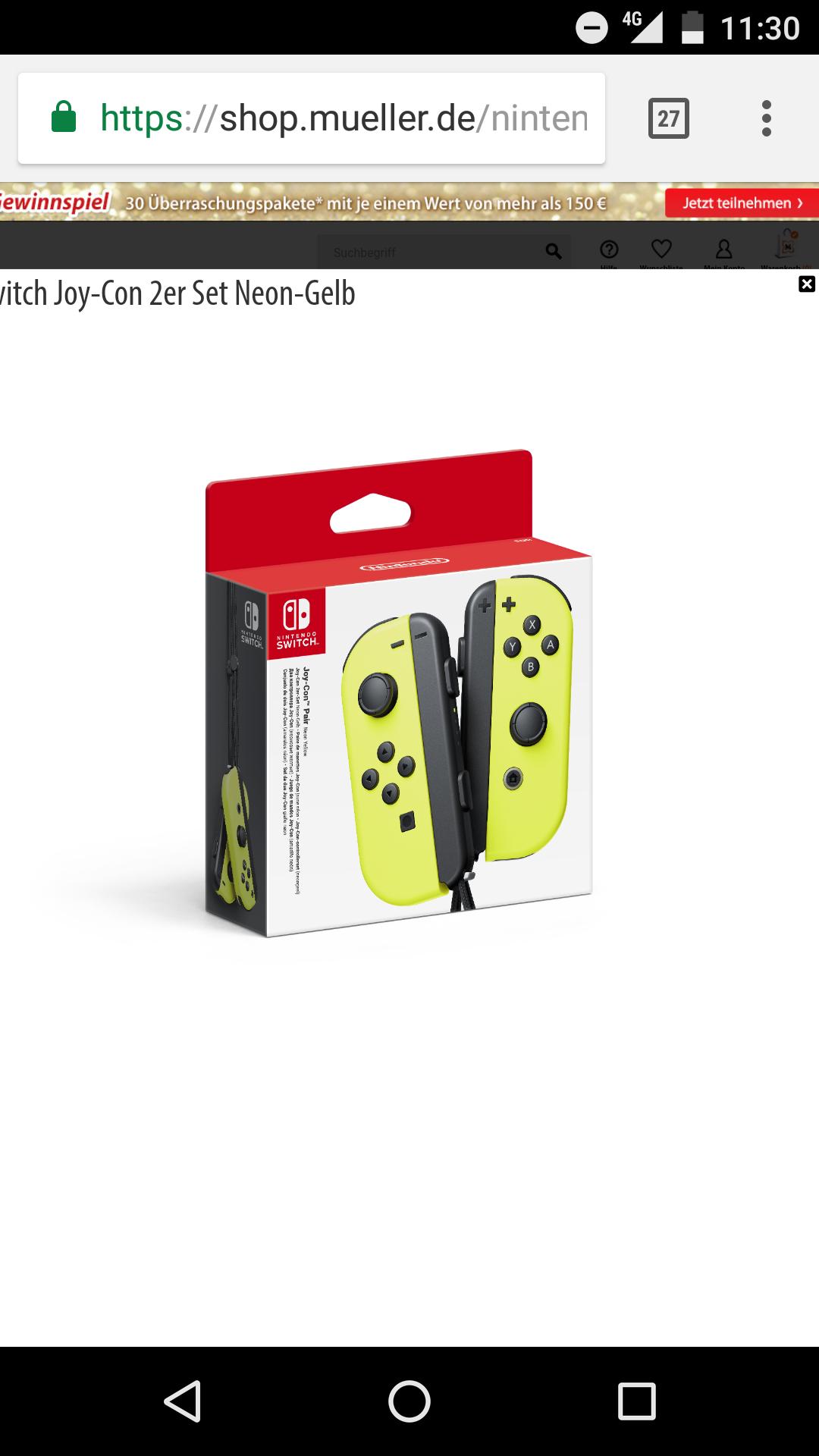 Nintendo Switch Joy Con - Gelb