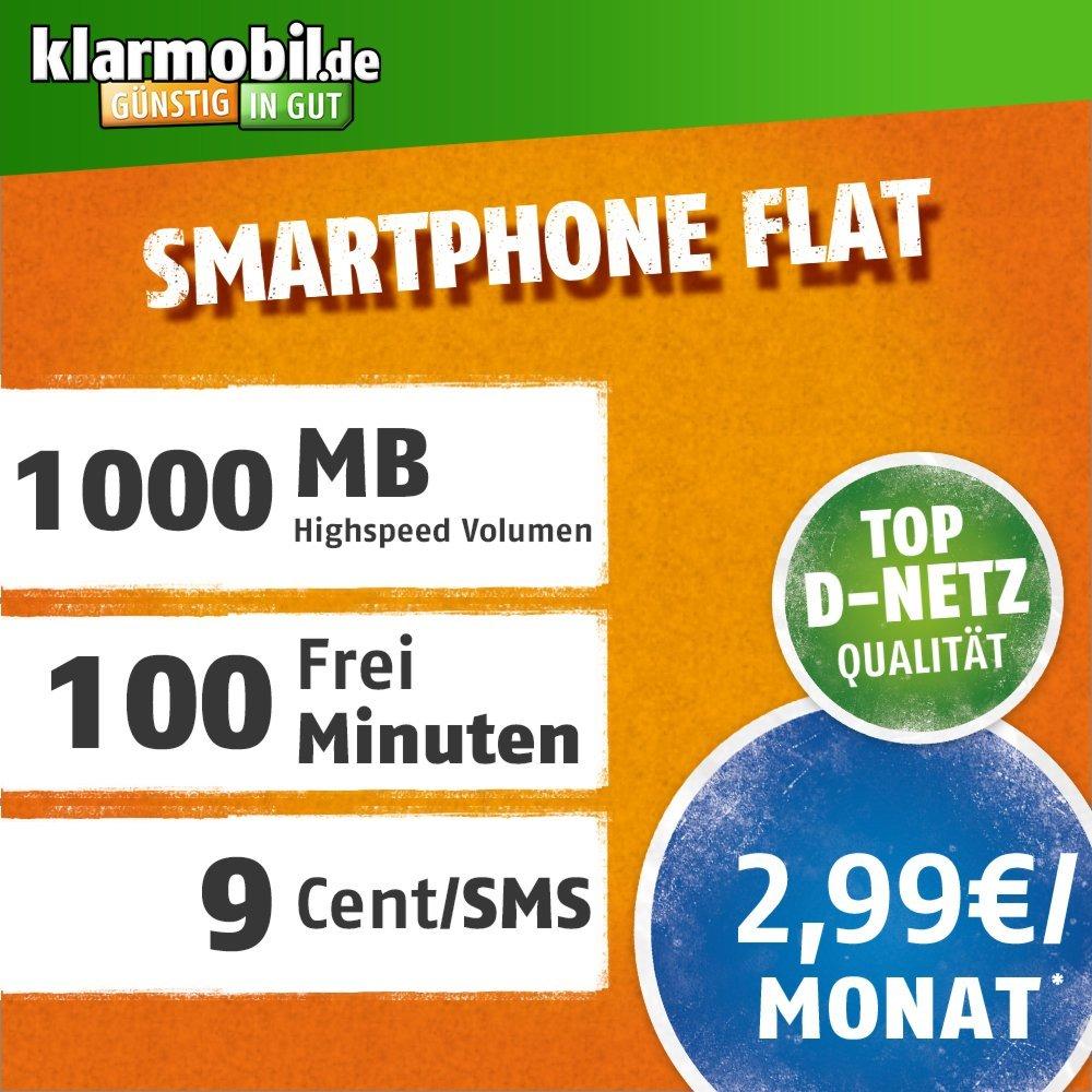 Amazon Tagesdeals mit Klarmobil Smartphone Flat im Vodafone Netz mit 100 Minuten & 1 GB für 2,99€ / Monat