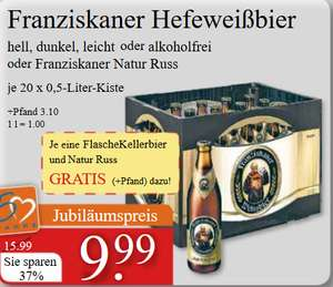 [V-Markt - local München] Franziskaner Hefeweißbier versch. Sorten: 1 Kisten + 2Fl. GRATIS