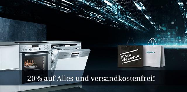 SIEMENS Black Weekend im Online-Shop 20% Rabatt und keine Versandkosten.