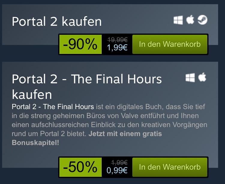 Portal 2 für 1,99€ statt 19,99€