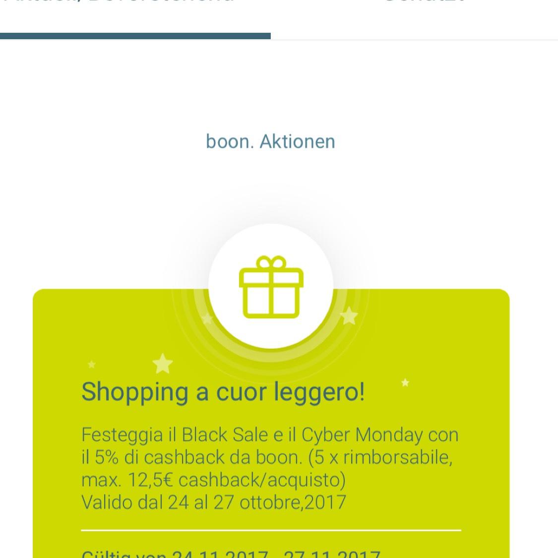 5% Cashback bei .boon Italien (ApplePay)