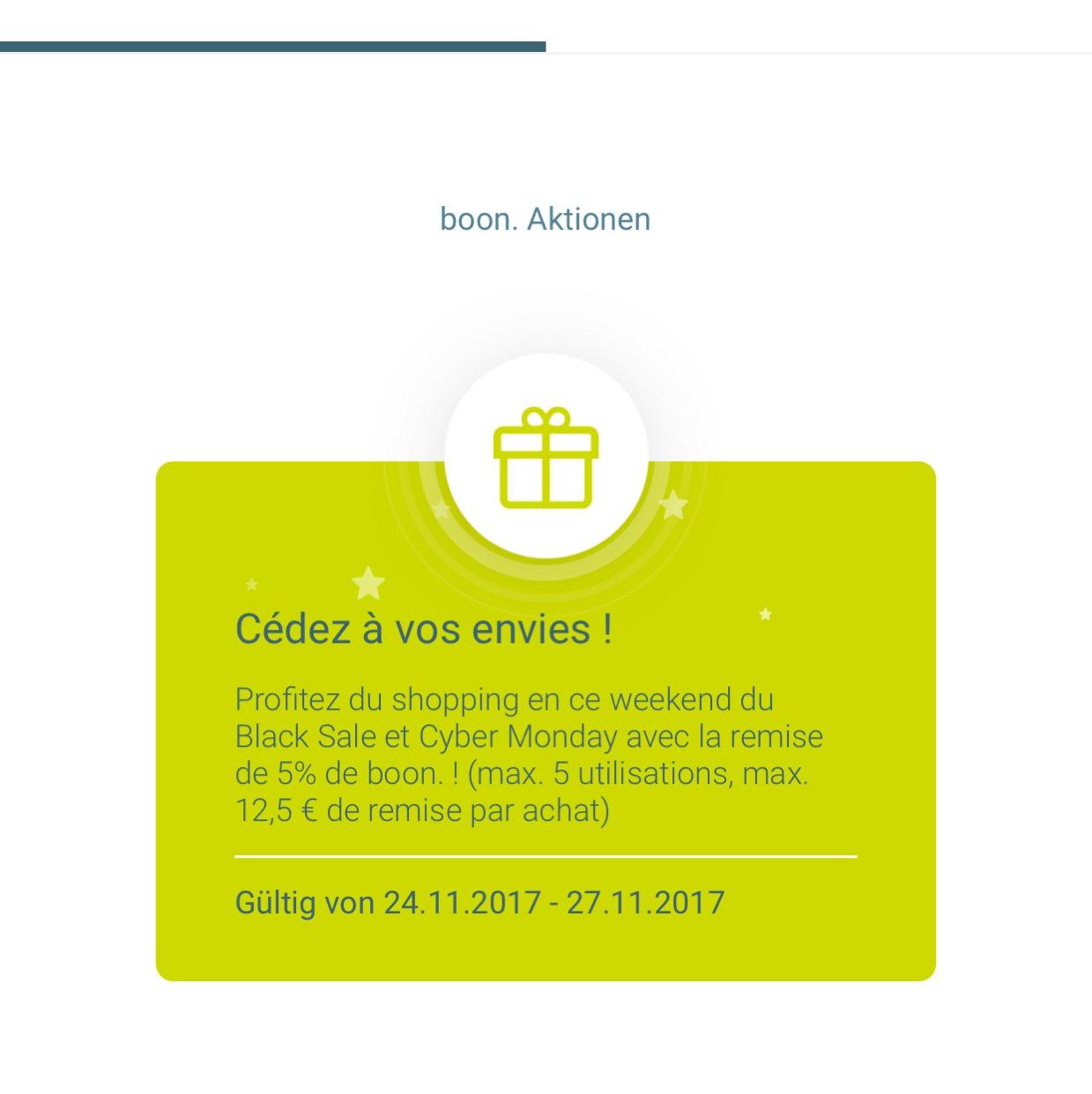 Boon 5% Cashback 24.11.-27.11.2017