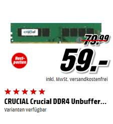 [Media Markt] Crucial 8GB DDR4 RAM 2133 MHz CL15 (2x8 GB = 118€)