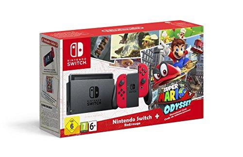 [Amazon.es] Nintendo Switch mit roten Joy-Cons + Odyssey Downloadcode