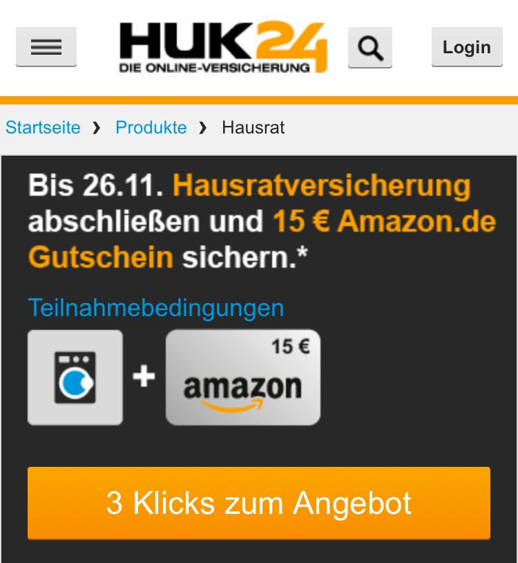 HUK24 Hausratsversicherung mit 15 Euro Amazon Gutschein