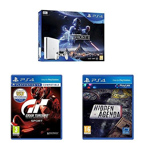 (Amazon.co.uk) Sony PlayStation 4 (500GB) with Star Wars Battlefront 2 (White Console) + Gran Turismo Sport + Hidden Agenda
