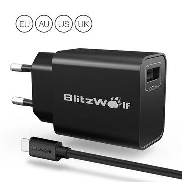 @Banggood BlitzWolf QC3.0 18W USB Ladegerät Adapter mit 1m Micro USB Kabel
