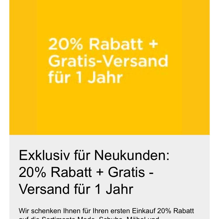 20% Rabatt für Neukunden + Gratis Versand für 1 Jahr