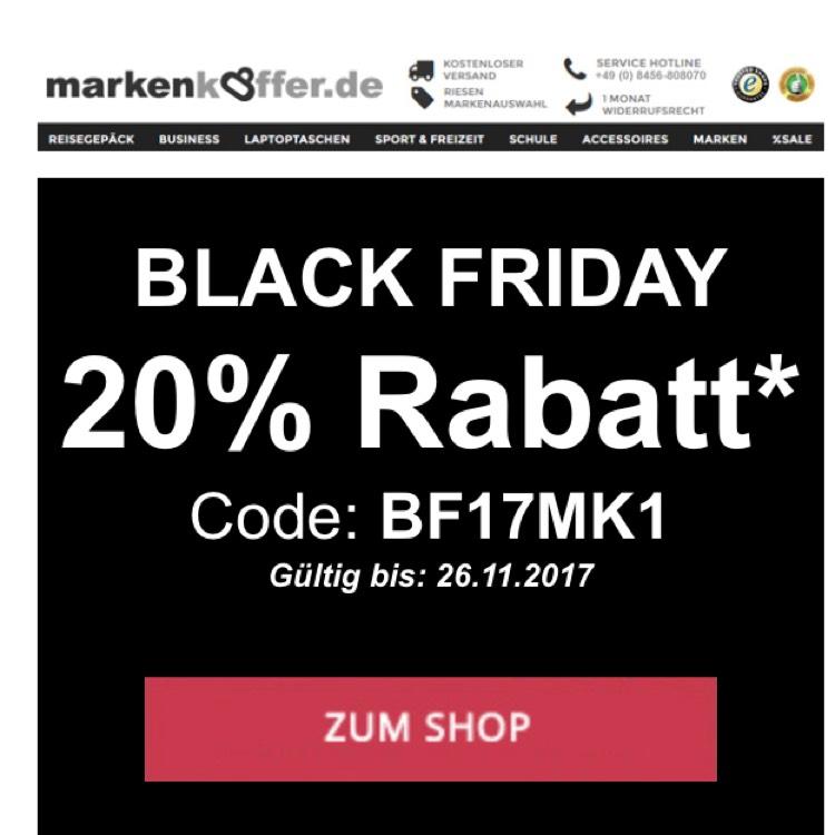 [Black Friday]  markenkoffer.de - 20% ab 100 MBW auf Koffer, Rucksäcke uvm.