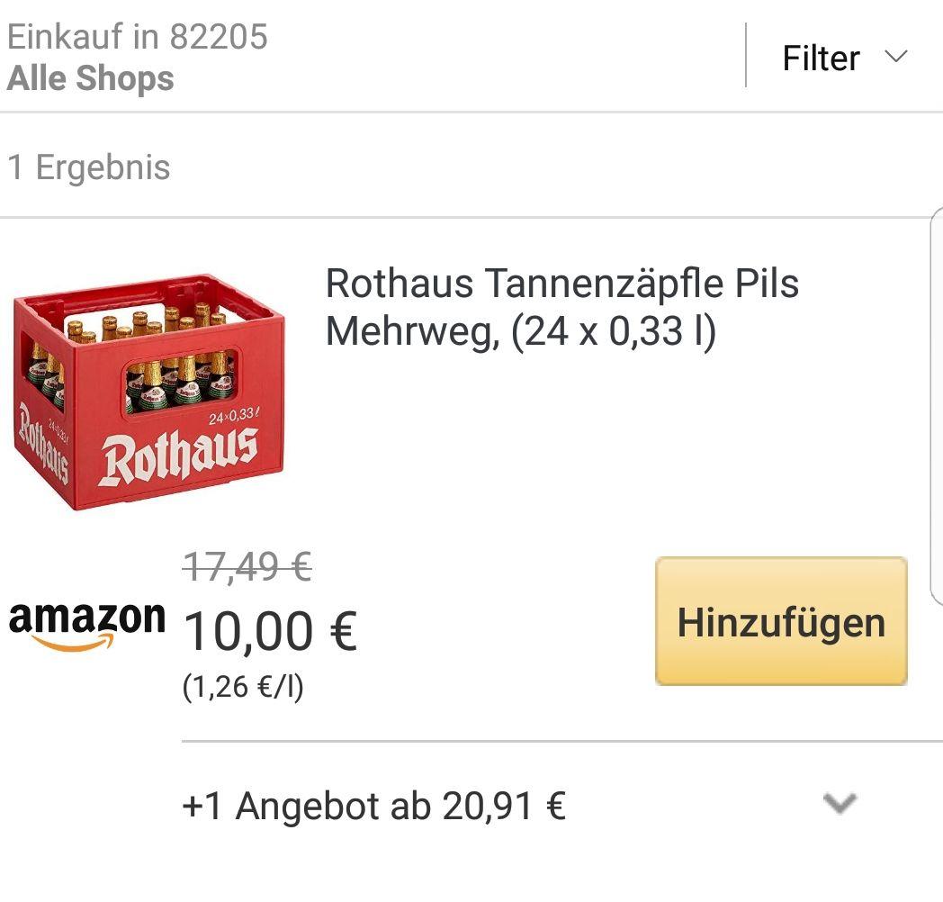 [Lokal München Amazon Prime Now] 1 Kasten Rothaus Tannenzäpfle Pils für 10€ (+3,99€ Versand unter 40€)
