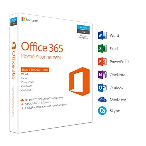 Amazon: Microsoft Office 365 Home multilingual | 5 Geräte | 1 Jahresabonnement | PC/Mac | Download (B01EA1MRFU)