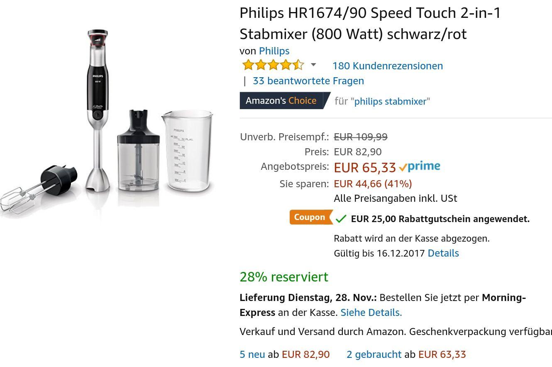 [Amazon Blitzangebot] Philips HR1674/90 Speed Touch 2-in-1 Stabmixer (800 Watt) schwarz/rot