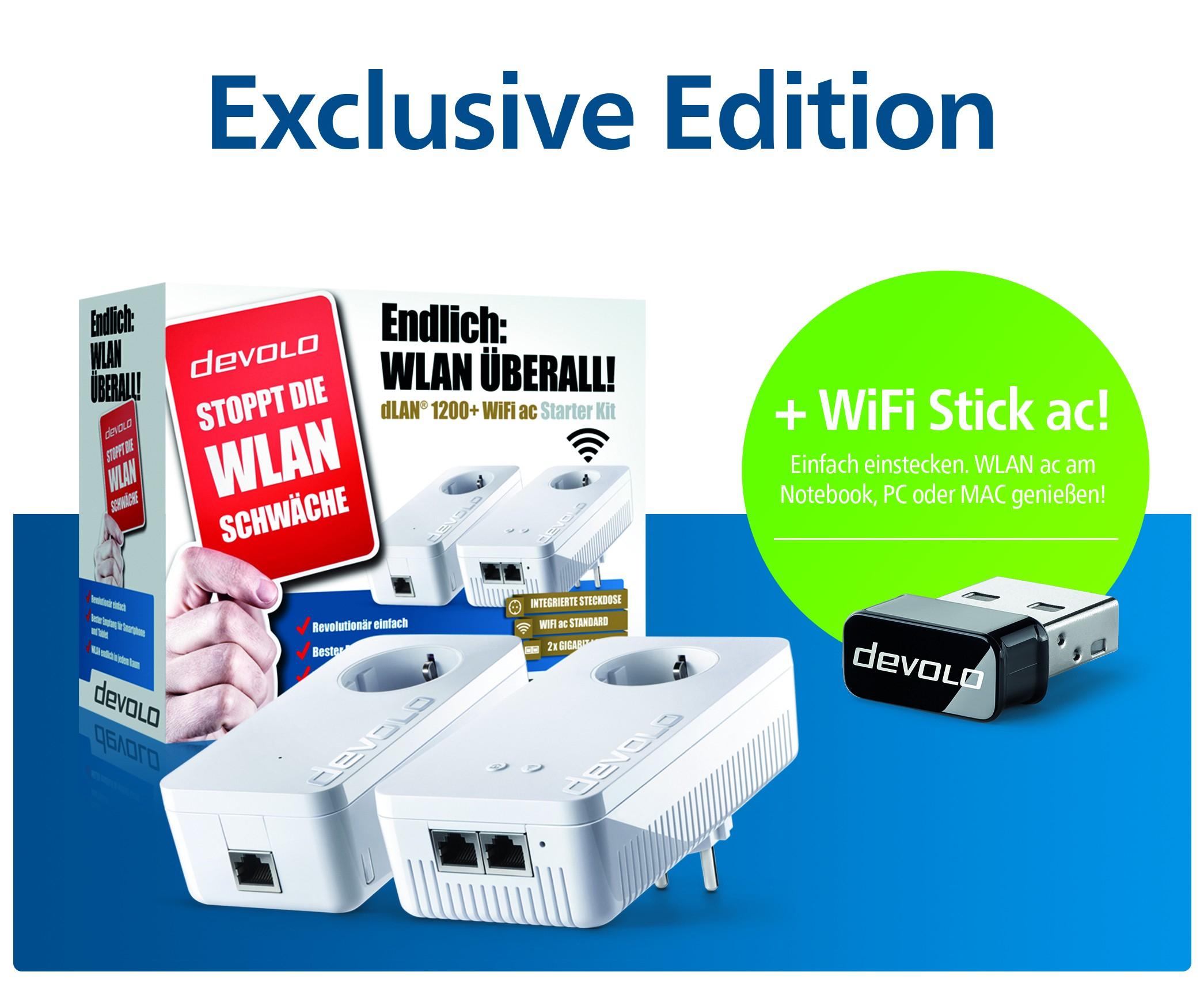 devolo dLAN 1200+ WiFi ac Starter Kit + WiFi Stick ac